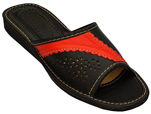 Senhoras Chinelos De Couro De Borracha Mula Único Modelo Traipse Xa29 Preto-vermelho