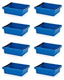 8x Mehrwegbehälter 60 x 40 x 17 blau mit Stapelbügel inkl. Zollstock * stapelbar 600x400x17 60x40x17