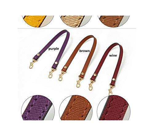 Echtes Leder 1,2 * 33 cm Ersatz Kurze einzelne Schultergurte Tasche Zubehör Taschengriffe Kreuzmuster - Braun Gewebt Leder Gürtel