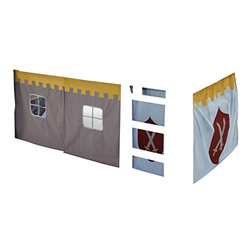 Steens For Kids Vorhangset für Kinderbett/ Halbhochbett, 5 tlg, 176 x 75 x 91 cm (B/H/T), Baumwolle, Grau (Hochbett Grau)