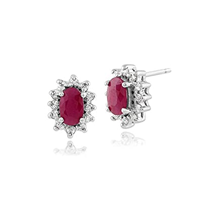 Gemondo Ruby Stud Earrings, 9ct White Gold 0.57ct Genuine Ruby & Diamond Oval Cluster Earrings
