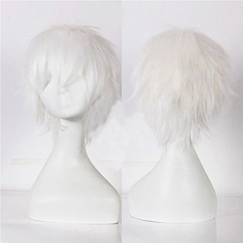 S-noilite® Kostüm Perücke Damen Mann Kurz Party Cosplay wig Kostueme Glatt Haar Wigs blonde Weiß
