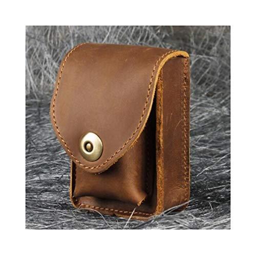 KPPTO Zigarettenschachtel, Retro Rindsleder Tasche Herren Gürtel Leder Zigarettenetui Pickup Bag Mini Taschen, braun Beautiful Life (Color : Brown1, Size : 9.4 * 7.8 * 1.8cm) -