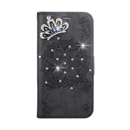 Huawei P8 Lite 2015/2016 Case, SONWO PU Leather Flip Wallet Phone Case, Mandala Embossing Bling 3D Crystal Diamond Cover with Card Slots and Kickstand for Huawei P8 Lite 2015/2016, Gray