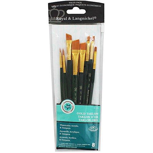 Royal & Langnickel RSET-9186 - Set de brochas, de taklon 8 piezas) color dorado