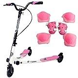 Yorbay Scooter patinete de tres rueda plegable ajustable para niños (rosa)