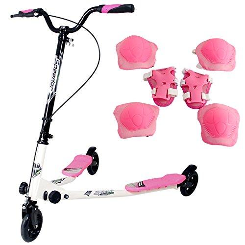 Yorbay Monopattino a 3 Ruote per Bambini Scooter Pieghevole e con Altezza Regolabile Diversi Colori Disponibili (Pink)