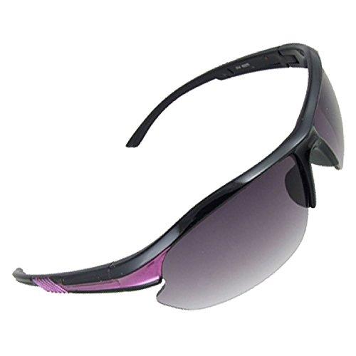 DealMux Schwarz Lila Kunststoff Arme halb Rand Sport-Sonnenbrille