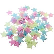 BestOfferBuy 100Piezas 3cm Estrellas Color Brilla Oscuridad Pegatinas Luminosas Pared PVC