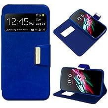Funda Flip Cover Premium color Azul para Alcatel One Touch Pop D5