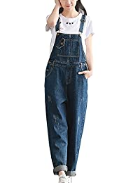 Mujer Chicas Peto Vaquero Mono Pantalones Anchos Pantalones Harem Largo Casual Elegante Fiesta Boyfriend Jeans Azul S
