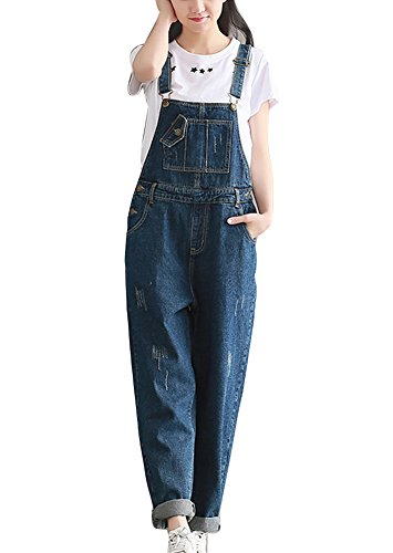 Mujer Chicas Peto Vaquero Mono Pantalones Anchos Pantalones Harem Largo Casual Elegante Fiesta Boyfriend Jeans Azul 2XL