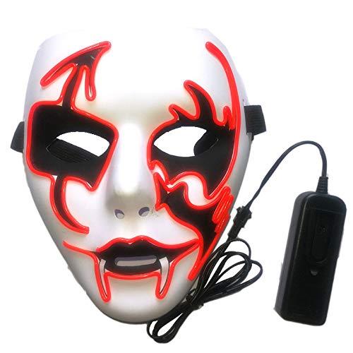 TINGTING Leuchtende Maske LED Atmosphäre Requisiten Halloween Horror Ghost Festival Karneval Weihnachten Kostüme Ghost Dance Party Party 20 * 18cm Sechs Arten Von Licht,Green