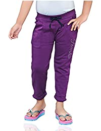 Mint Purple Cotton Girl's Ankle Track Pant