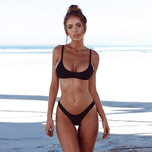 CAIjj Frauen Badeanzüge 2 Stück brasilianischen Top Thong Bikini Set hoch taillierte Badeanzüge für Frauen Beachwear,Schwarz,US-Größe ** S = Tag S -