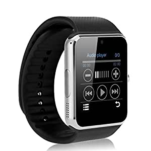 HONGYU GT08 Bluetooth Smart Watch with Camera SIM Card Slot and Smart Health Watch Camera for Android Samsung HTC and IOS Apple iphone Smartphone Bracelet Smartwatch- Gold GT08 Silver black band
