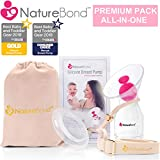 NatureBond Silicone Breastfeeding Manual Breast Pump Milk Saver Suction | Bonus Pump Strap, Stopper, Cover Lid, Pouch, Air-Tight Vacuum Sealed in Hardcover Gift Box. BPA Free