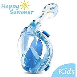 Orsen Masque de plongée intégral avec Tuba pour Enfants, Vue panoramique avec Sangles de tête réglables, Respiration Facile et Anti-buée, Anti-Fuite, avec caméra d'action (Bleu)