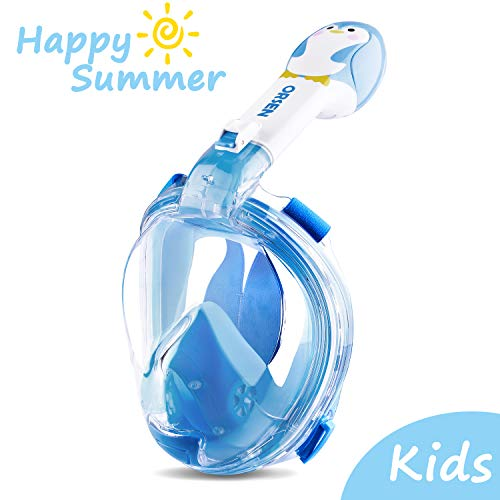 ORSEN Tauchmaske Vollgesichtsmaske für Kinder, Faltbare Schnorchelmaske Vollmaske mit 180° Sicht und Action Kamera-Halterung, Müheloses Atmen, Kein Beschlagen (Blau, XS)