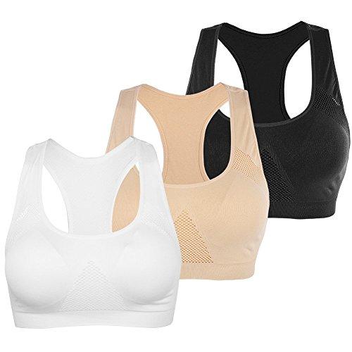 FITIBEST Damen Sport-BHS Set,Schnelle Trocknung Push up Bras für Damen Pack von 3
