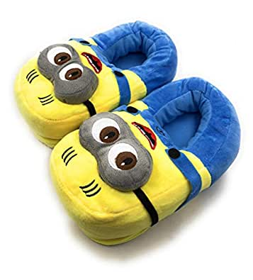 24x7 eMall Cute Plush Minion Shoes with 3D Eyes Free Size Indoor Slipper Funny Soft Plush for Adults Kids Teens Bedroom with Non-Skid Footpads (Shoes) Yellow