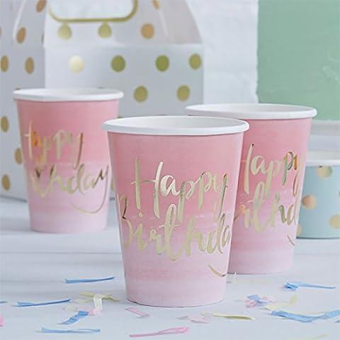 erdbeerloft - Party Dekoration Tisch Becher Cups Happy Birthday Schriftzug 8 Stk. 255ml, Rosa