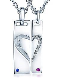 Infinito U - Colgante Pareja de Plata de Ley 925 Tarjeta Militar y Colgante Dog Tag de Corazón, Circonitas con Incrustaciones Amor Regalo de San Valentín para Hombre y Mujer