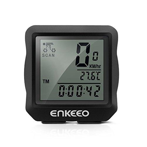 Enkeeo Vélo 1.0 Compteur de Vélo Filiaire Compteur de vitesse, Odomètre de Vélos, Affichage Rétro-éclairage, Multifonctions Suivi Distance, Vitesse, Temps, Température, Noir