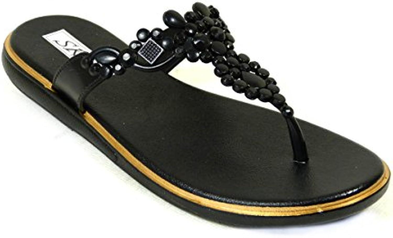 s mesdames les filles fleur après la plage plage plage pointe métallique des tongs chaussures taille 3 - 8 4c70d7