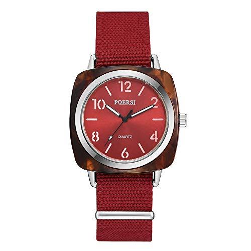 VECOLE Uhren Damen Einfache Casual Arabisch Digital Dial Nylonband Uhr Mode Armbanduhr Quarz Analoganzeige Uhr(Rot) -
