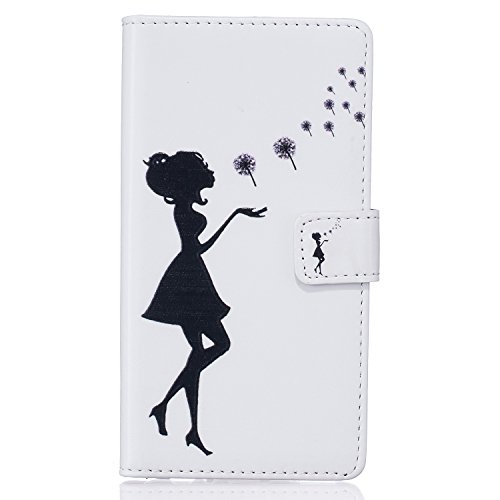 Coque Etui pour Galaxy S5/S5 Neo, Galaxy S5 Housse à rabat en cuir Coque Portefeuille, Galaxy S5 Neo PU Cuir Coque de Protection Folio Étui Housse Leather Case Cover Wallet, Ukayfe Bookstyle Etui de P fille noire