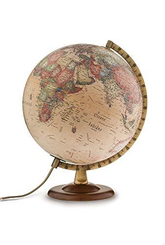 Tecnodidattica - Mappamondo Atmosphere A4, Luminoso, Girevole, Base in Legno di Faggio scurito e meridiano graduato in Metallo, cartografia Stile Antico, Diametro 30 cm