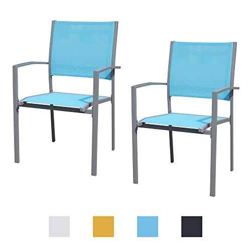 Gartenstühle mit Armlehne Doppelpack grauer Rahmen - Jalano Gartenstuhl in verschiedenen Farben wetterfest Stapelstuhl 2er Set Terrasse Gartenmöbel Bistro Stuhl (Türkis)