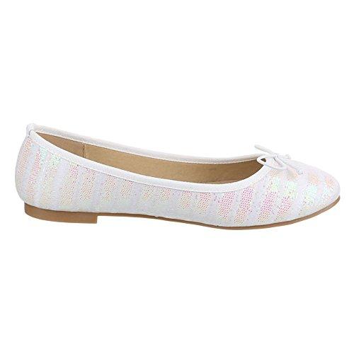 Damen Schuhe, JA10126, BALLERINAS PUMPS Weiß Rosa