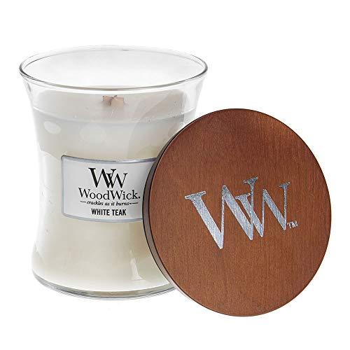 Woodwick Kerze, Teakholz, Weiß Medium Jar weiß