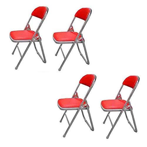 YCSD Klappstuhl - Faltstuhl Gästestuhl Im 4er Set, Stuhl Polsterung In Schwarz, Metall In Schwarz (Color : Red) - Holz-team Stuhl