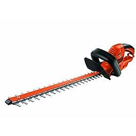 BLACK+DECKER BDHT55-QS Taille-haies filaire – Ecartement : 22 mm – Poignée multidirectionnelle et interrupteur double-commande 500W, Orange, 55 cm