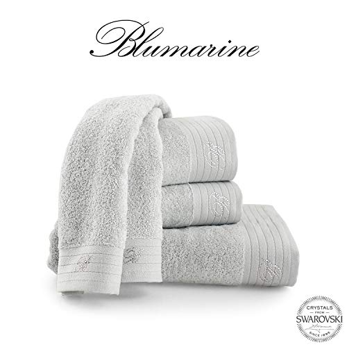 Blumarine set spugna 5 pezzi art. crociera con strass var. ghiaccio + tavoletta profumo biancheria per armadi by biancocasa