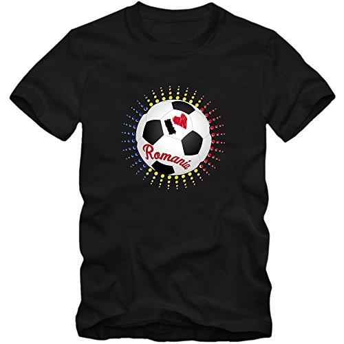 Rumänien EM 2016 #6 T-Shirt | Fußball | Herren | Trikot | Tricolorii | Nationalmannschaft © Shirt Happenz Schwarz (Deep Black L190)
