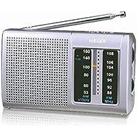 HAEGER Goal - Radio portatil Am/FM con Antena telescópica con 32 cm, Correa para la muñeca, conexión de Entrada para Auriculares