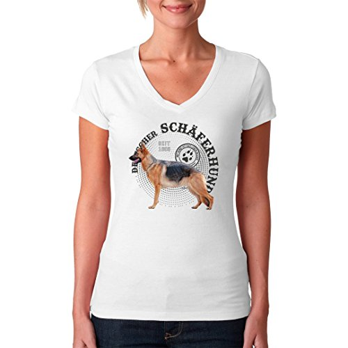 Im-Shirt - Hunde Motiv: Deutscher Schäferhund Foto cooles Fun Girlie Shirt - verschiedene Farben Weiß