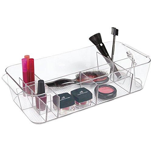 mDesign Tote Organizzatore Cosmetici da Armadietto per Tenere Trucco, Prodotti di Bellezza - Trasparente