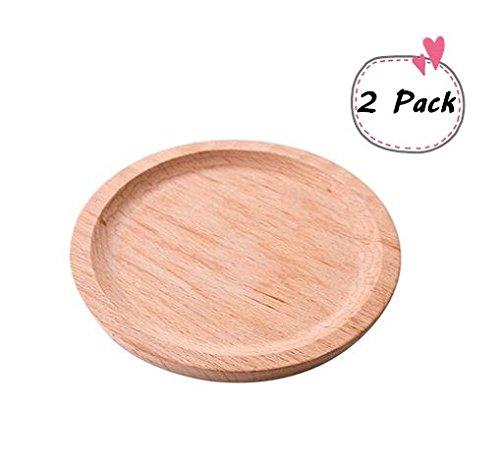 Astra Shop Set of 2Kleine 11,4cm Bambus Holz rund Holz Platten/Kuchen Dessertteller/Servierplatte/Fruit Tablett/Holz Geschirr/wiederverwendbar und stabile, Bambusholz, wood natural biege, 5.5