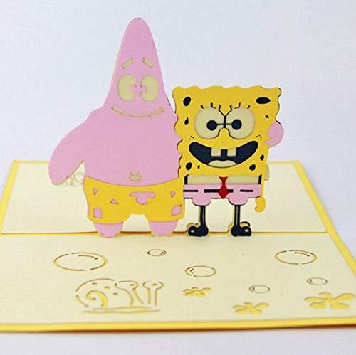 dgemachte 3D Pop Up Geburtstagskarte SpongeBob Schwammkopf Patrick Star animierte TV Cartoon Comic Kind Kind Geschenk Hochzeitstag, Valentines ()