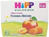 HiPP Biologique Pommes Abricots  coupelles 4 x 100 g dès 4/6 mois