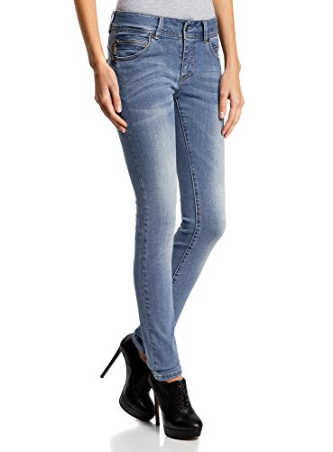 oodji Ultra Donna Push-Up Skinny Jeans, Blu, 29W / 30L (IT 46 / EU 29 / L)