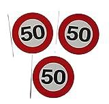 3 Stück Aufkleber Sticker 50 Verkehrsschild 9 cm Partydeko Geburtstag
