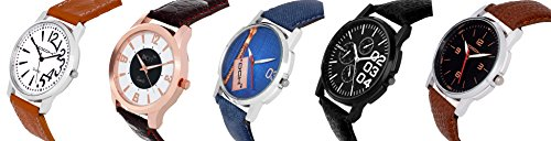 DCH Exclusive Analogue 5 Stylish Watch Combo With Multi Colour Dial For Men/Boys