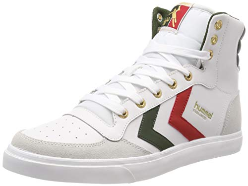 Hummel stadil limited high, sneaker a collo alto uomo, bianco (white/green 9208), 46 eu