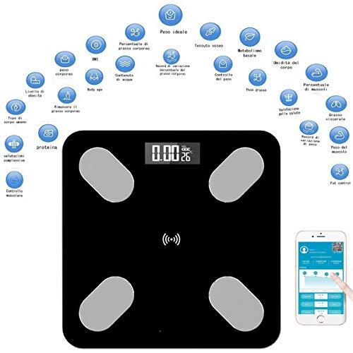 Báscula digital de 17 datos físicos, aplicación útil y sencilla. Báscula digital inteligente diseñada para la familia. Báscula Bluetooth fácil de usar. Carga por USB, no requiere pilas. ❤ Báscula digital 17 diferentes índices corporales: ✤ Báscula di...